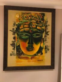 Colorful Buddha painting with frame