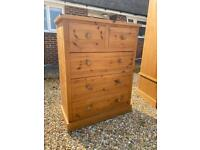 Solid chunky pine large chest of deep drawers. Dovetail Joints. Possible delivery