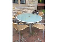 LARGE GLASS GARDEN PATIO TABLE