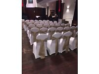 Chair covers 50 p hire bows every colour 50 p set up free weddings communions birthdays ect
