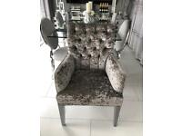 Silver/ grey crushed velvet chairs