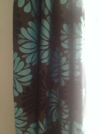 Lined curtains (200cm drop 140cm width per panel) with extending brushed steel curtain pole.