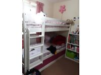 Bunk Bed with storage underneath, white study table, white Book shelf(without books) -collection