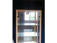Furniture - Glass Display unit, cd/dvd unit, shelf units and chest of drawers