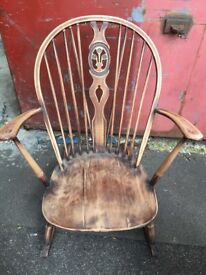 Vintage retro ERCOL rocking chair wooden mid century modern