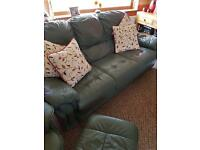 Green 3 seater leather sofa with matching swivel chair and footstool