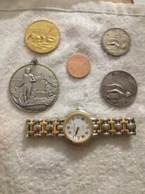 4x British army sports medals and a watch