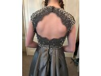 Grey prom dress petite size 6-8 £100
