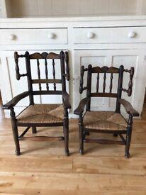 Antique Wooden Children's Chairs Pair