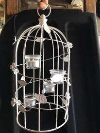 Bird cage table decorations with glass tea light holders