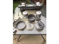 Carp stove with ngt cooking set, and gas canisters