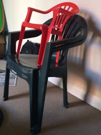 Plastic stacking chairs - 3 full size + 1 Kids chair
