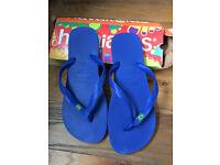 Havaianas Mens Brasil Brazil Flip Flops/Sandals Marine Blue Size UK 9-10, EUR 45-46 BRA 43-44