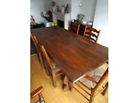 Solid Dark Wook Dining Table with 6 x Chairs