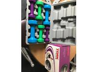 Set of 6 dumbbells and gym ball