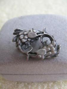"INTERESTING OLD VINTAGE PEWTER ""FISH"" LAPEL PIN"