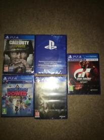 PS4 CONSOLE BUNDLE GAMES WWII WW2 grand turismo sport 18 FIFA fallout digital and mod NEW SEALED