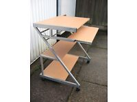 beech effect computer trolley table or desk. £10