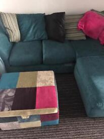 Blue Corner Sofa with Pouffe