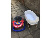 Baby walker and Moses baby basket