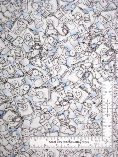 Loralie Designs Fabric Medstuff Medical Equipment Motif Blue Cotton Yard RETIRED