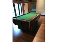 """7ft x 4ft English pool table using 2"""" red and yellow balls as standard, with a one piece slate bed"""