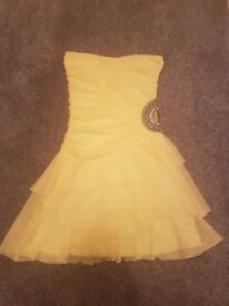 Size 10 Yellow Strapless Short Prom Dress