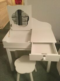 Child's white desk with stool. Desk has drawer and lift up mirror panel.