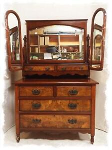 Spectacular Antique Walnut And Burled Walnut Dresser On Casters With Upper Tri-Mirrored Unit $385--As Is