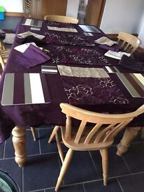 Purple Silky Feel Table Cloth and Matching Napkins and Placemats