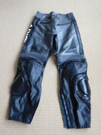 Men's leather reinforced motorcycle trousers