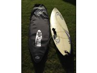 Gulfstream custom surfboard including rhino padded board bag and balin leash