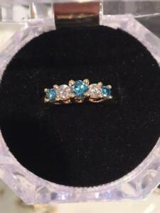 #1187 14K LADIES ENGAGEMENT RING  SIZE 5 **BLUE & WHITE DIAMONDS** JUST APPRAISED FOR $3550.00 SELLING FOR $1195.00