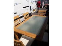 Beautiful Wood & Glass Dining Table with 6 Chairs