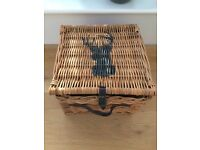 Painted wooden tray and wicker basket/hamper with stag's head