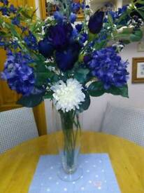 COLLECTION OF SILK EVERLASTING FLOWERS, IN SHADES OF BLUES