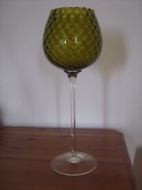 STUNNING Antique Delicate Italian Glass Vase Ornament (+65 Years Old Possibly Empoli)