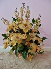 Cream Gold Artificial Roses & Exotic Flower Arrangement Green Foliage Ivory White Vase Gift Idea