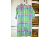 RALPH LAUREN Boy's Green Mix Check Coverall Romper 6 Months - NWT