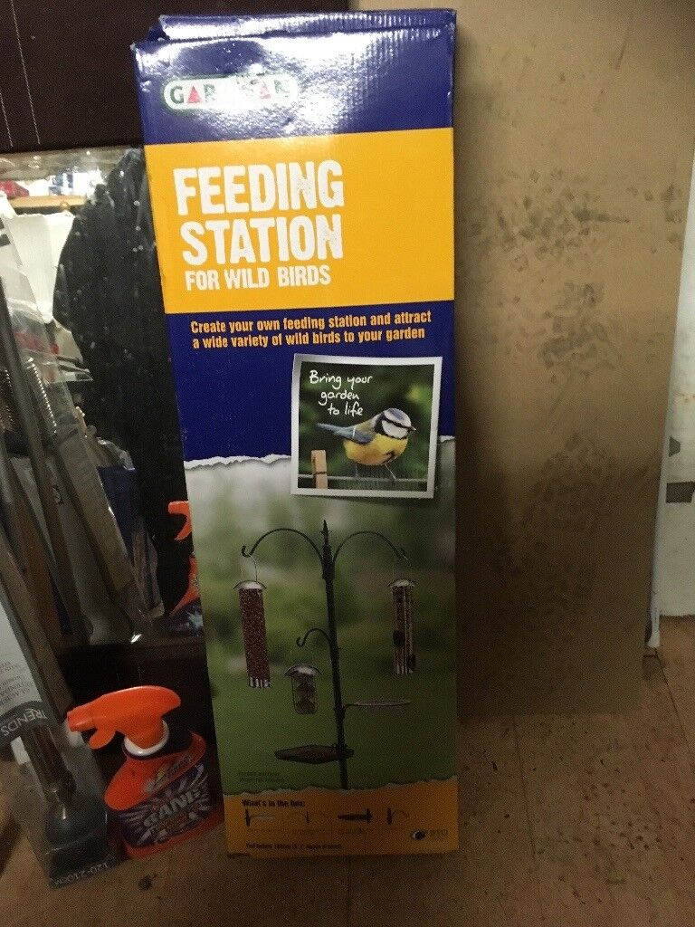 Gardmann feeding stationin Kingswood, Bristol - Gardmann feeding station. With small feeder hook, mesh feed tray, bird bath and support ring. 'Fleur de lys' style finial. 226cm high x 58cm wide. £12. Collection only. Please text as I can't always answer the phone