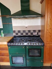 Belling Range Cooker Dual Fuel (LPG/Electric) and matching Cooker Hood in Green
