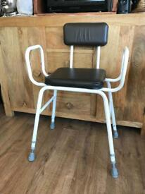 Adjustable height disabled shower chair/ seat
