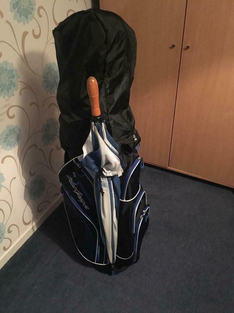 5b1377f3d8 Set of Dunlop Tour golf clubs with brand new Macgregor golf bag, balls and golf  cart.