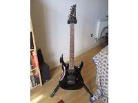 Ibanez RGA42 electric guitar (black with white trim) w/ stand, bag & strap