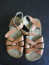 Girls salt water brown sandals leather size 11