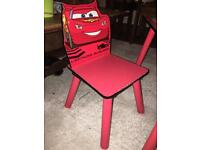 Cars children's play table and two chairs