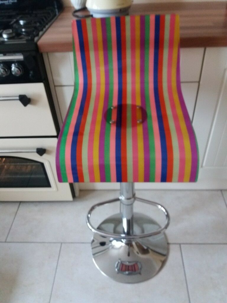 Swedish Gas Lift Bar Stool, Acrylic RAINBOW Seat V Good Con £30 pick up HU12 9QN Thorngumbald
