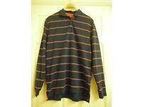Mens Charles Tyrwhitt Long Sleeve Rugby Style Polo Shirt Striped Navy/Red Medium