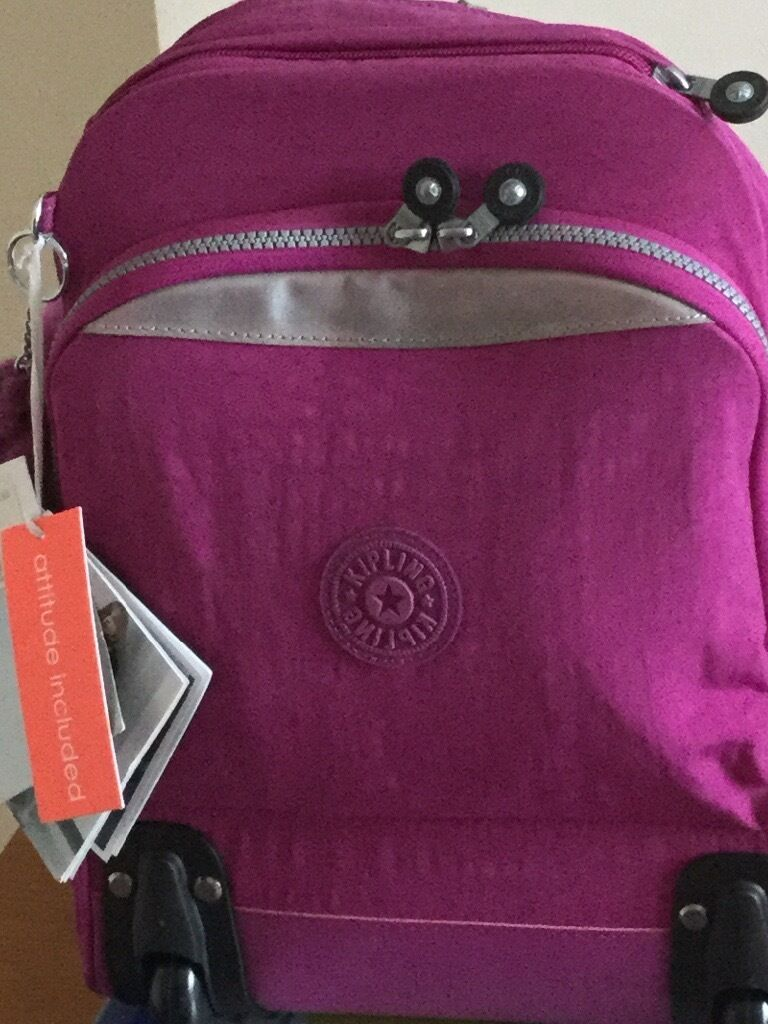 New Kipling Child's rucksack/ backpack school bag with pull out handle and wheels