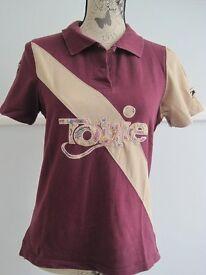Tottie ladies girls riding polo shirt size uk 8 - 10 plum beige colour